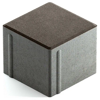 Steingot Сити 80, 100х100х80 мм, Плитка тротуарная квадратная полный прокрас темно-серая
