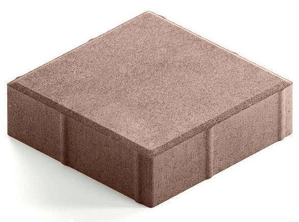 Steingot Практик 60, 200х200х60 мм, Плитка тротуарная квадратная полный прокрас светло-коричневая