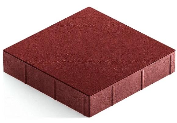 Steingot Практик 60, 300х300х60 мм, Плитка тротуарная квадратная полный прокрас бордовая