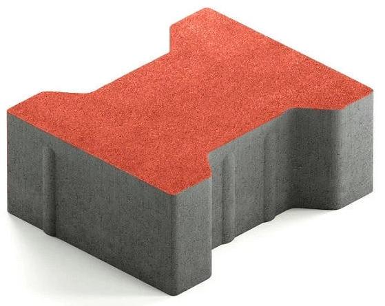 Steingot Сити 80, 200х165х80 мм, Плитка тротуарная катушка без фаски частичный прокрас красная
