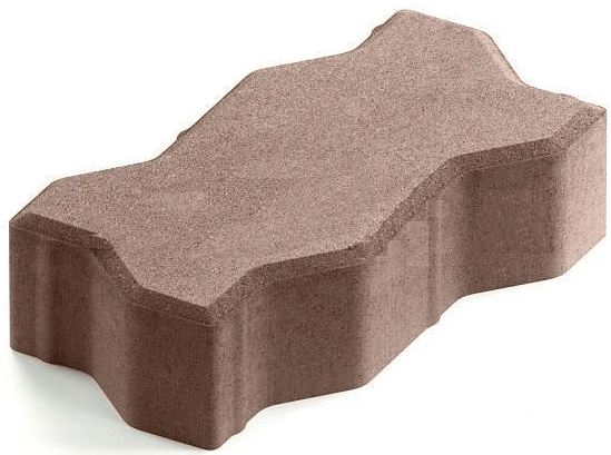 Steingot Практик 60, 225х112.5х60 мм, Плитка тротуарная зигзагообразная полный прокрас светло-коричневая