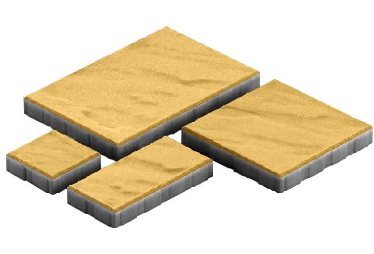 Steingot Грандо, 60 мм, Плитка тротуарная мультиформатная частичный прокрас желтая