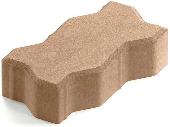 Steingot Практик 60, 225х112.5х60 мм, Плитка тротуарная зигзагообразная полный прокрас бежевая