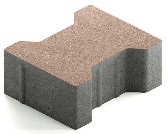 Steingot Сити 80, 200х165х80 мм, Плитка тротуарная катушка без фаски частичный прокрас светло-коричневая