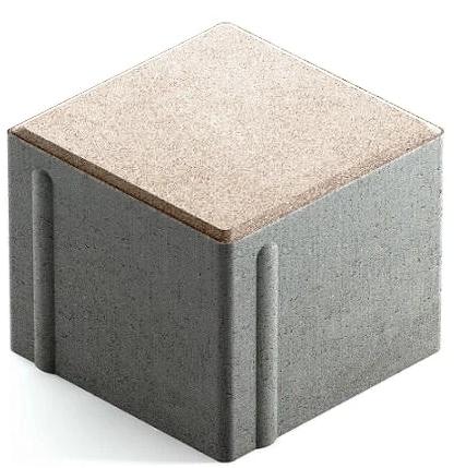 Steingot Сити 80, 100х100х80 мм, Плитка тротуарная квадратная частичный прокрас белая