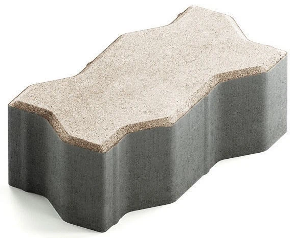 Steingot Сити 80, 225х112.5х80 мм, Плитка тротуарная зигзагообразная частичный прокрас белая