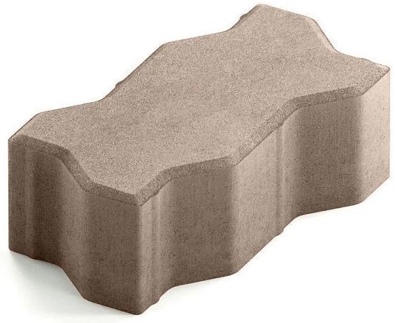 Steingot Сити 80, 225х112.5х80 мм, Плитка тротуарная зигзагообразная полный прокрас светло-коричневая
