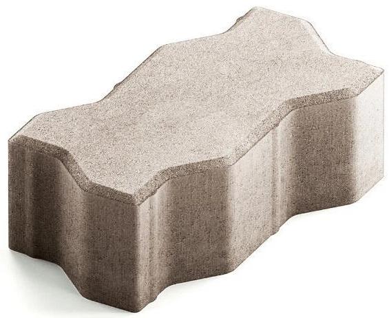 Steingot Сити 80, 225х112.5х80 мм, Плитка тротуарная зигзагообразная полный прокрас белая