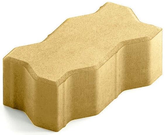 Steingot Сити 80, 225х112.5х80 мм, Плитка тротуарная зигзагообразная полный прокрас желтая