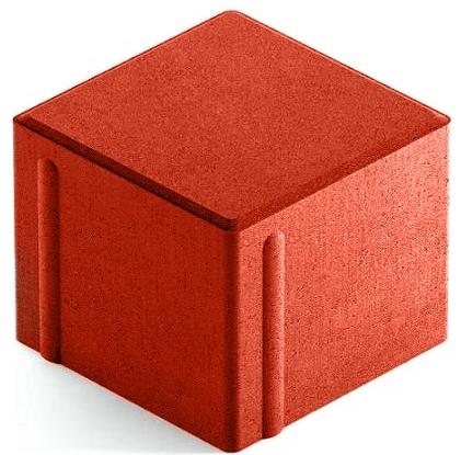 Плитка тротуарная Steingot Сити 80 квадратная полный прокрас (красная), 100х100х80 мм