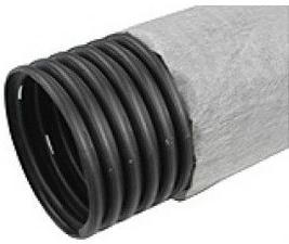Купить Труба дренажная однослойная перфорированная с геотканью Nashorn N Typar ПНД (черная), 200 мм — Фото №1