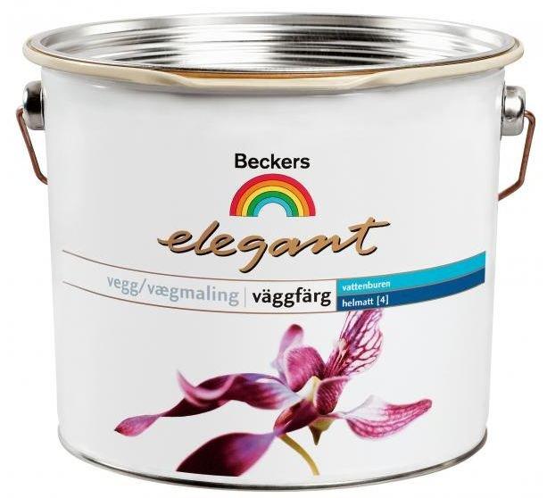 Краска интерьерная латексная Beckers Elegant Vaggfarg Helmatt (белая), 2.7 л