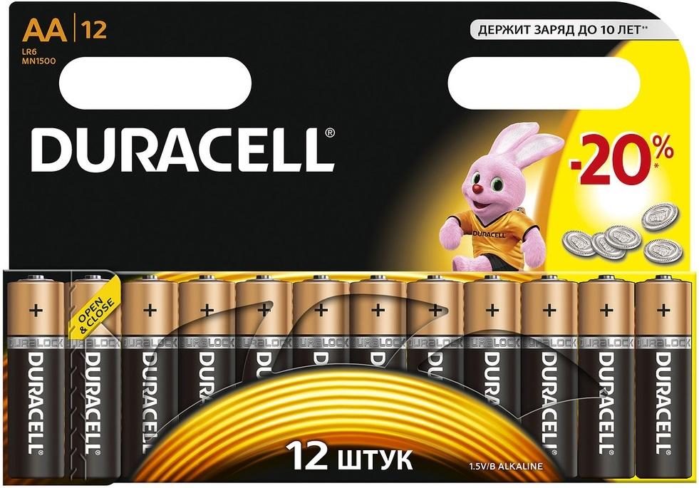 Купить Батарейки AA Duracell LR6-12BL Basic C0037388 (12 шт) — Фото №1