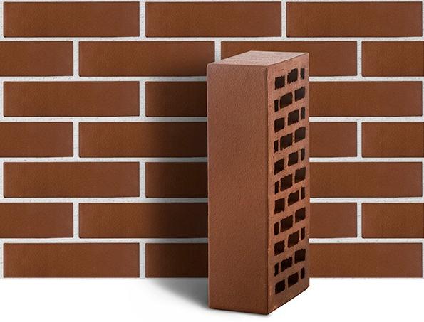 Кирпич облицовочный одинарный гладкий ЛСР М175 (коричневый), 250х120х65 мм