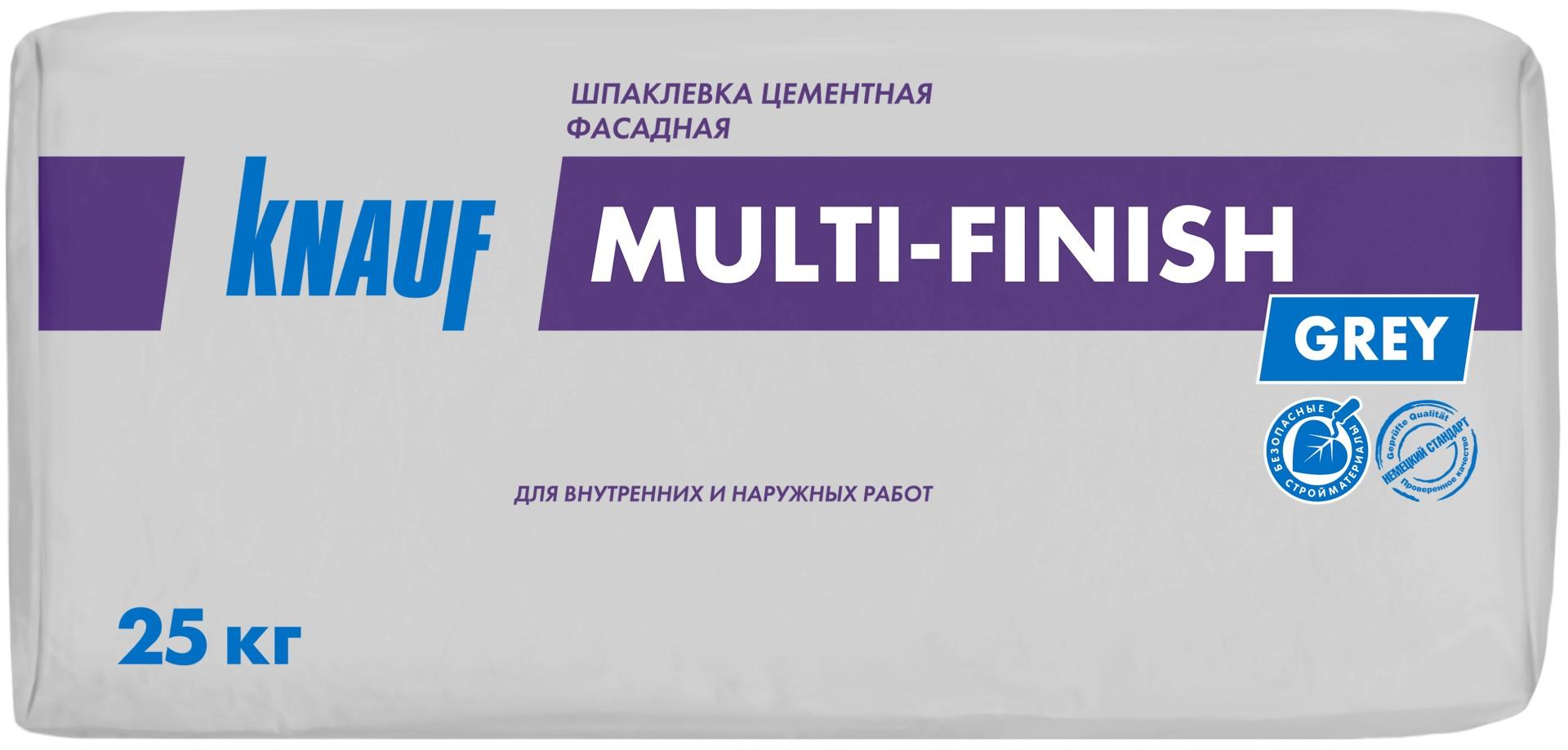 Купить Шпатлевка цементная фасадная Knauf Мульти-Финиш (серая), 25 кг — Фото №1