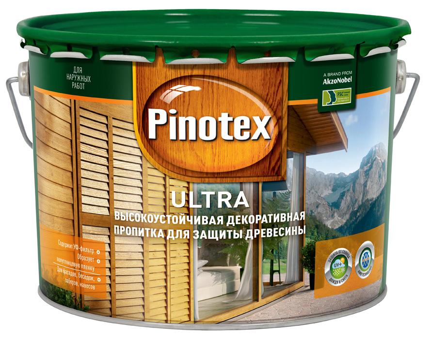 Купить Пропитка деревозащитная Pinotex Ultra (прозрачный), 9 л — Фото №1
