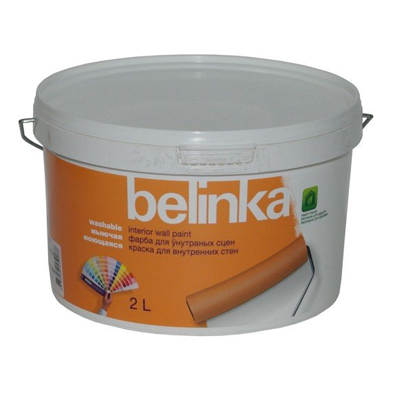 Краска интерьерная стирол-акриловая Belinka B1 моющаяся для стен и потолков (белая), 10 л