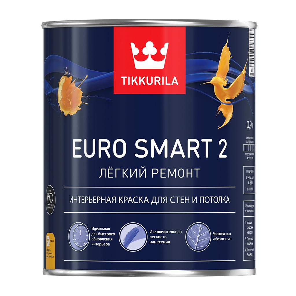 Купить Краска интерьерная водно-дисперсионная Tikkurila Euro Smart 2 (белая), 9 л — Фото №1