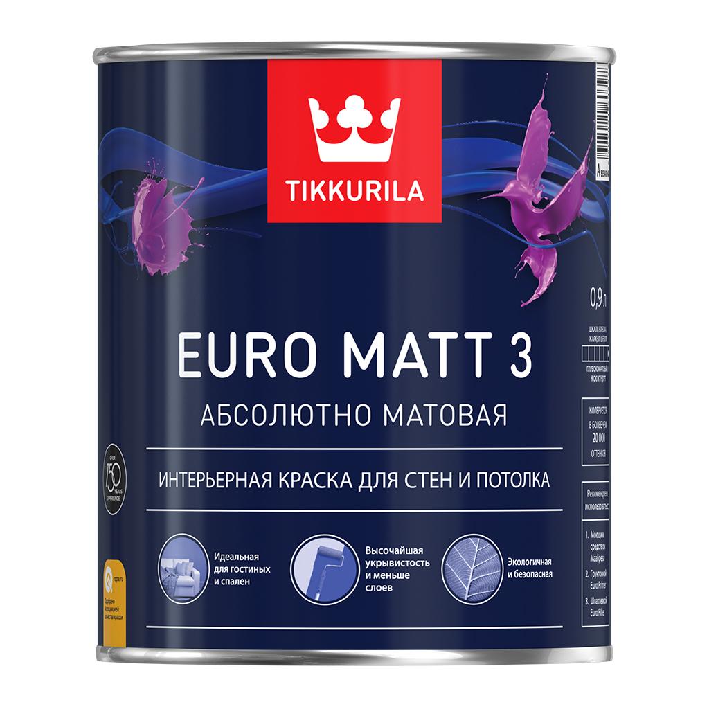 Купить Краска интерьерная латексная Tikkurila Euro Matt 3 (белая), 9 л — Фото №1