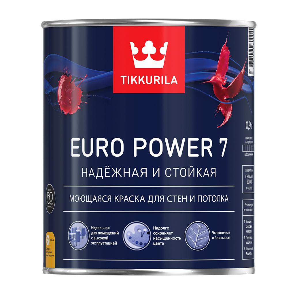 Купить Краска интерьерная латексная Tikkurila Euro Power 7 (белая), 2,7 л — Фото №1