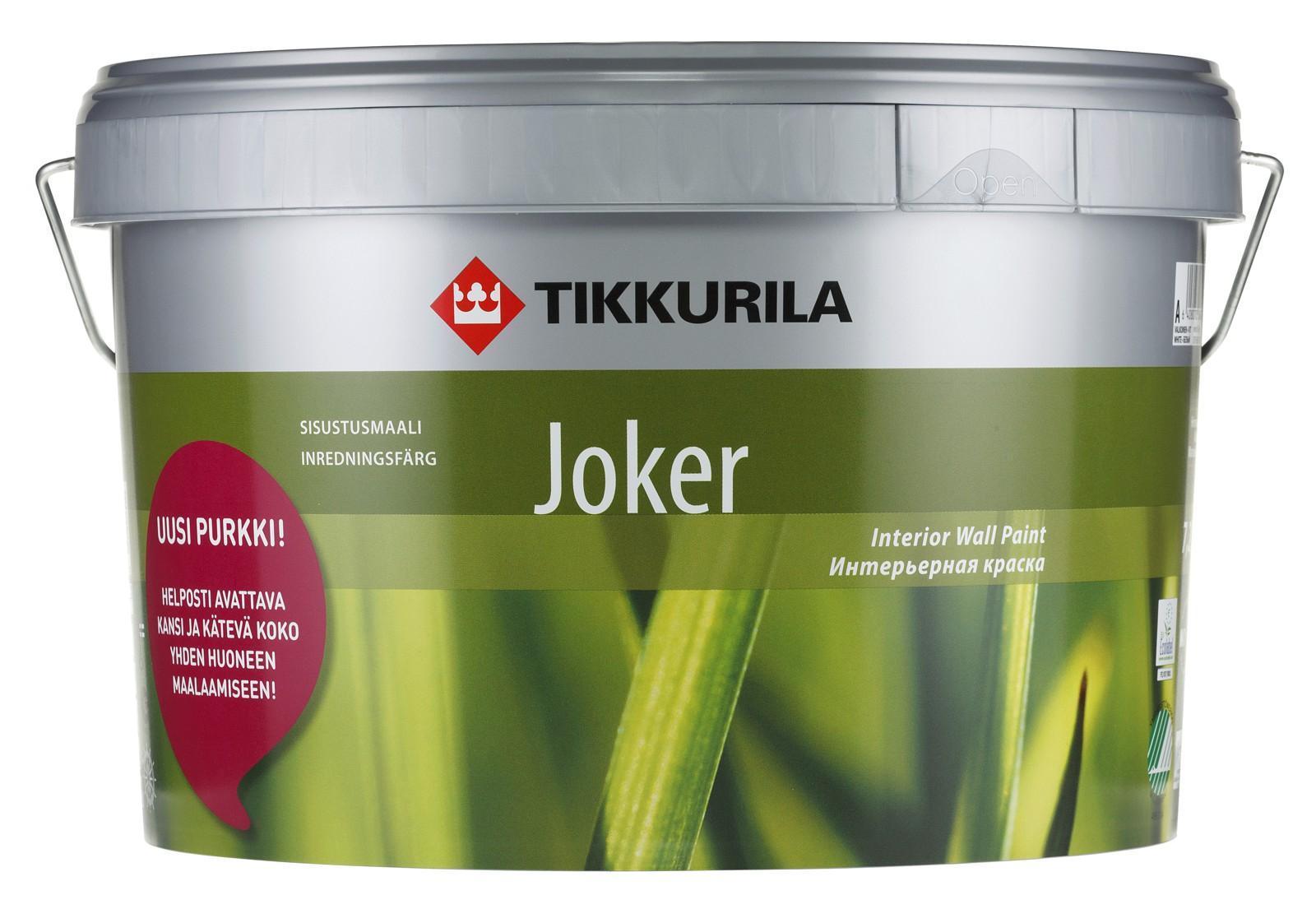 Купить Краска интерьерная Tikkurila Jocker (белая), 9 л — Фото №1