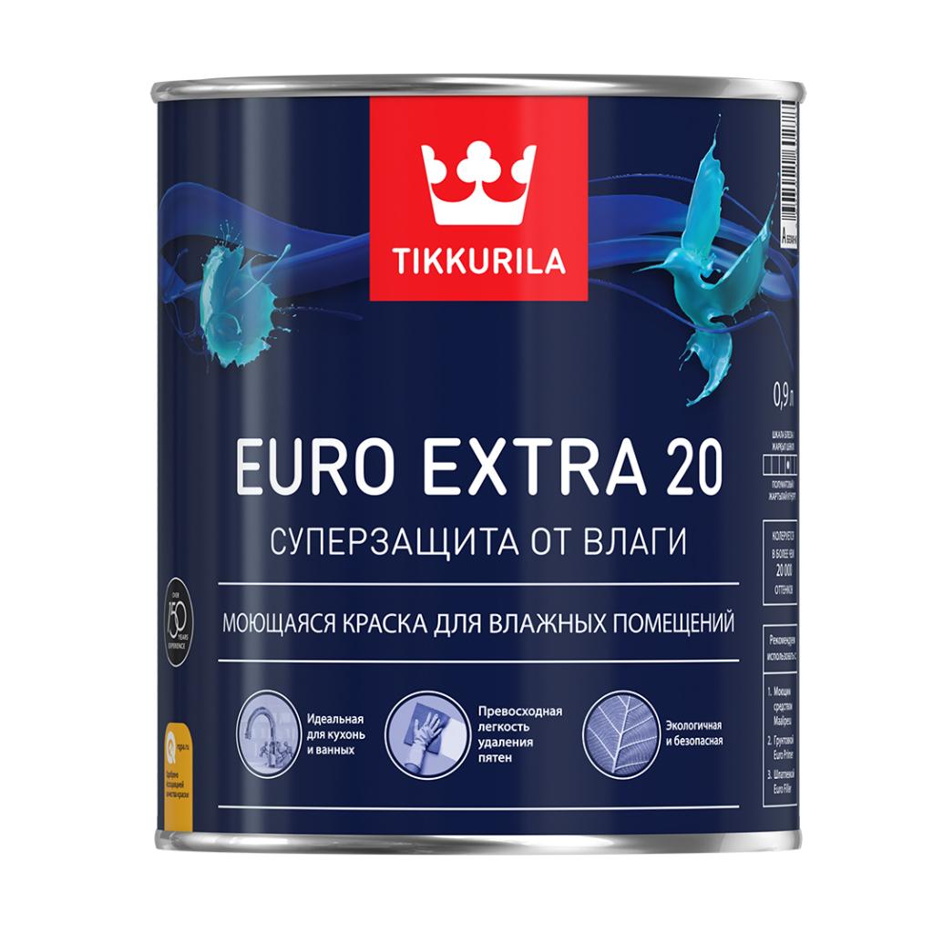 Купить Краска интерьерная для влажных помещений Tikkurila Euro Extra 20 A (белая), 0.9 л — Фото №1