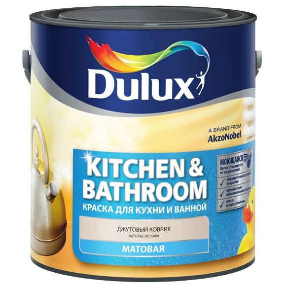 Купить Краска интерьерная стирол-акриловая для влажных помещений Dulux Kitchen & Bathrooms (белая матовая), 2.5 л — Фото №1