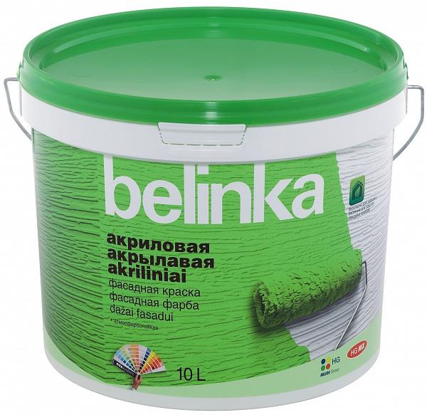 Краска фасадная по кирпичу и бетону акриловая Belinka (белая), 10 л
