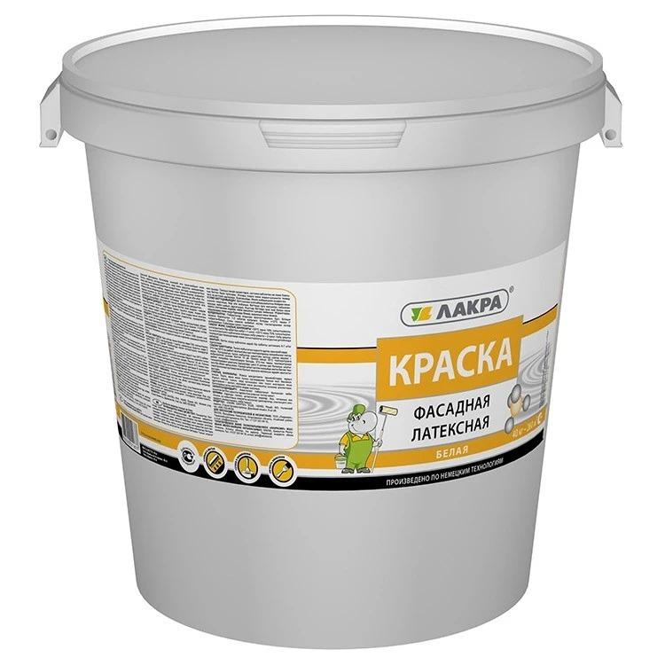 Краска фасадная латексная Лакра (белая), 40 кг