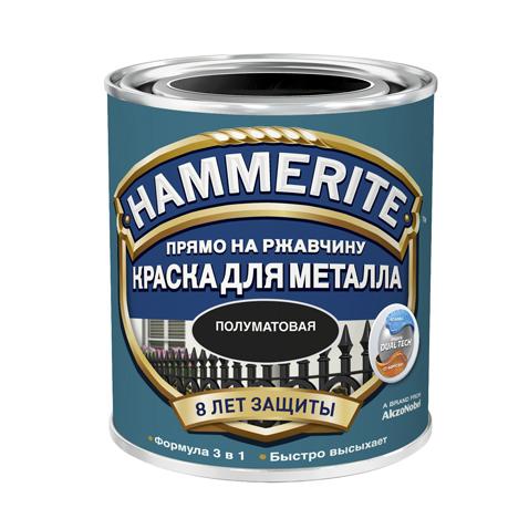 Купить Краска по металлу антикоррозийная алкидная Hammerite Satin (черная), 0,75 л — Фото №1