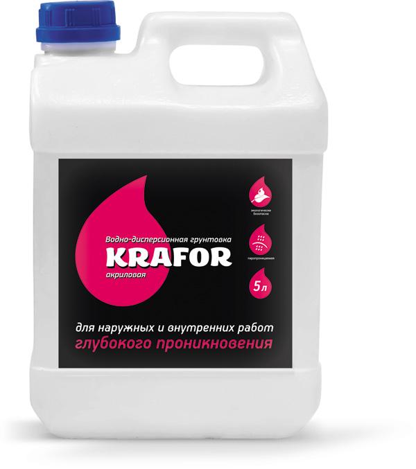Купить Грунтовка глубокого проникновения акриловая Krafor (прозрачная), 10 л — Фото №1