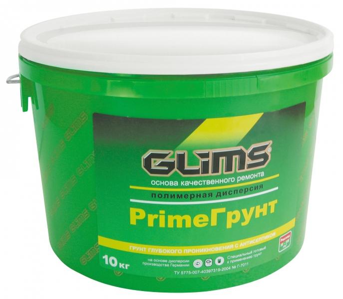 Купить Грунтовка глубокого проникновения акриловая Glims PrimeГрунт (белая), 10 л — Фото №1
