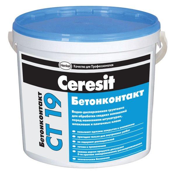 Купить Грунтовка для бетона акриловая Ceresit СТ 19 Бетонконтакт, 5 л — Фото №1