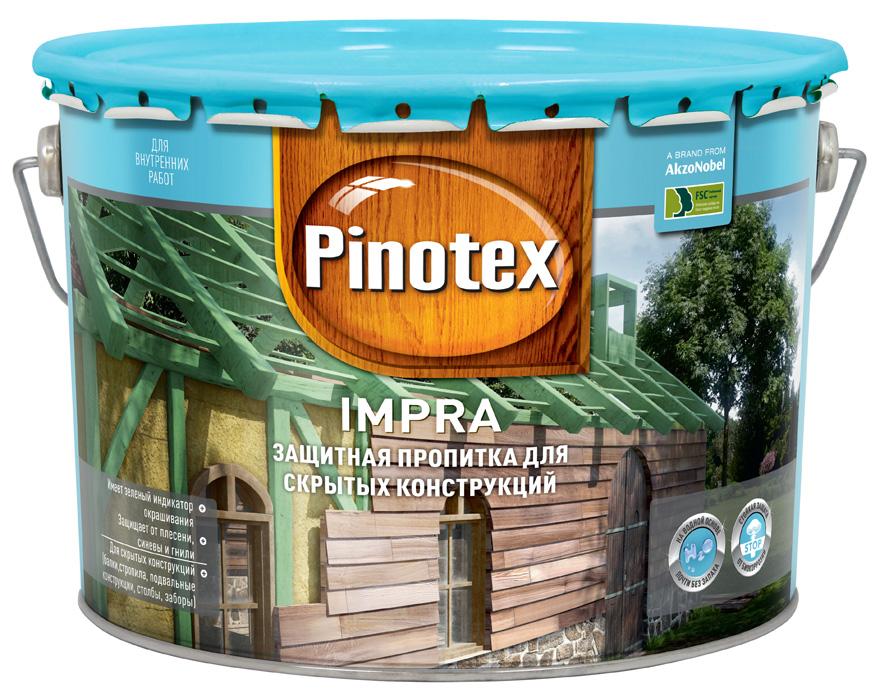 Купить Грунт-пропитка по дереву Pinotex Impra (с зеленым индикатором окрашивания), 9 л — Фото №1
