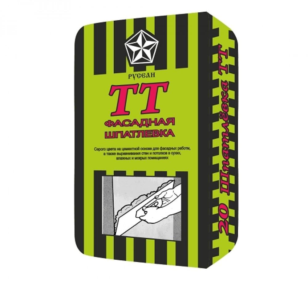 Купить Шпатлевка цементная фасадная Русеан ТТ (серая), 20 кг — Фото №1