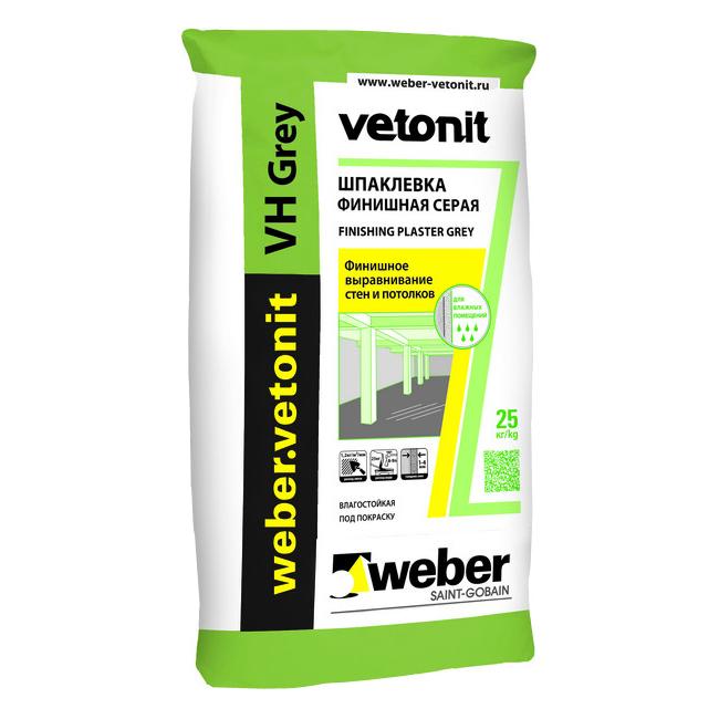 Купить Шпатлевка цементная финишная Weber.Vetonit VH Grey (серая), 25 кг — Фото №1