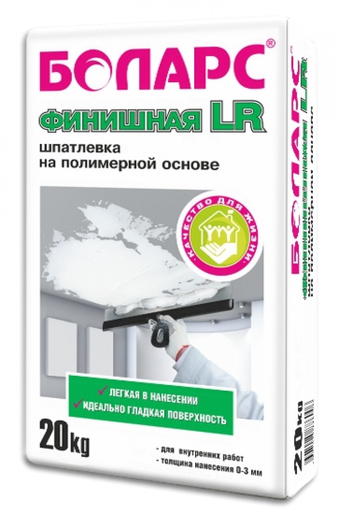 Купить Шпатлевка полимерная финишная Боларс LR (белая), 20 кг — Фото №1