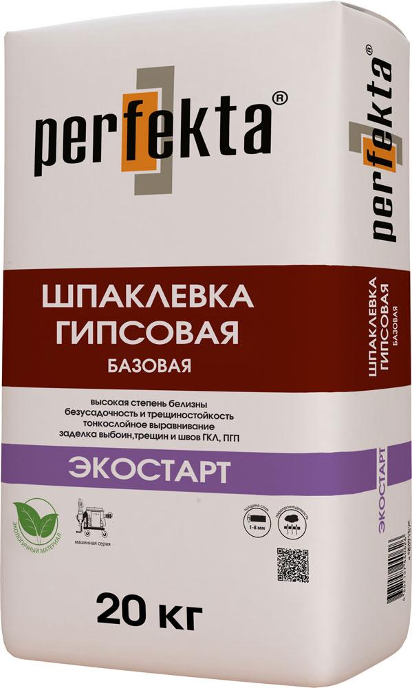 Купить Шпатлевка гипсовая базовая Perfekta Экостарт (белая), 20 кг — Фото №1