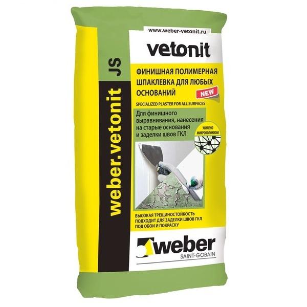 Купить Шпатлевка полимерная универсальная Weber.Vetonit JS (белая), 20 кг — Фото №1