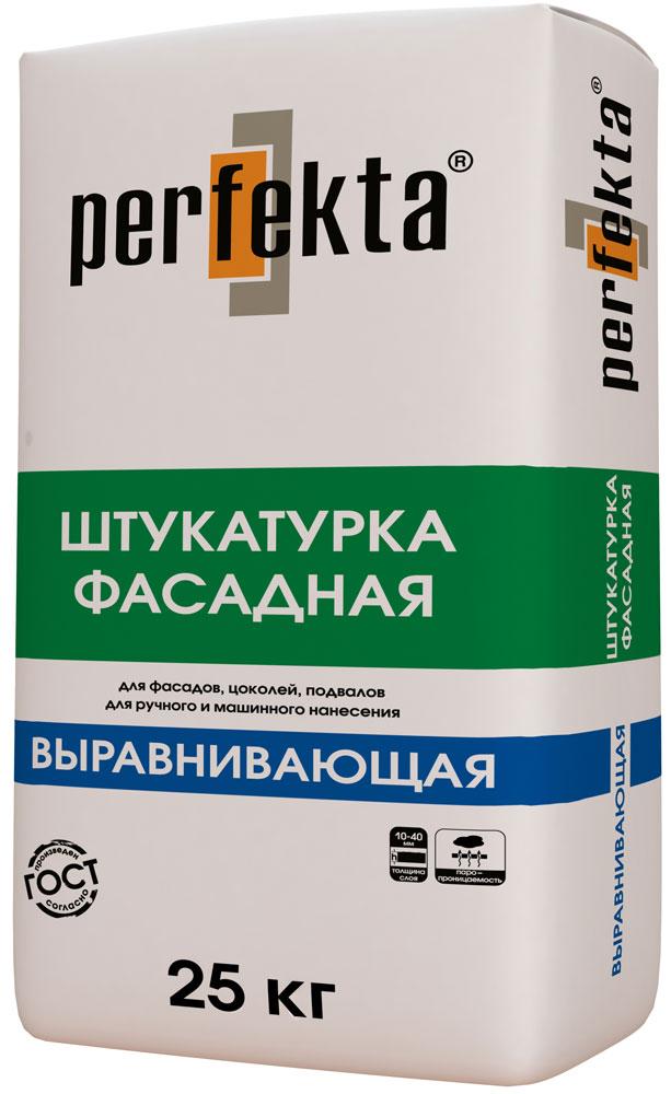 Купить Штукатурка цементная фасадная для машинного нанесения Perfekta Выравнивающая (серая), 25 кг — Фото №1