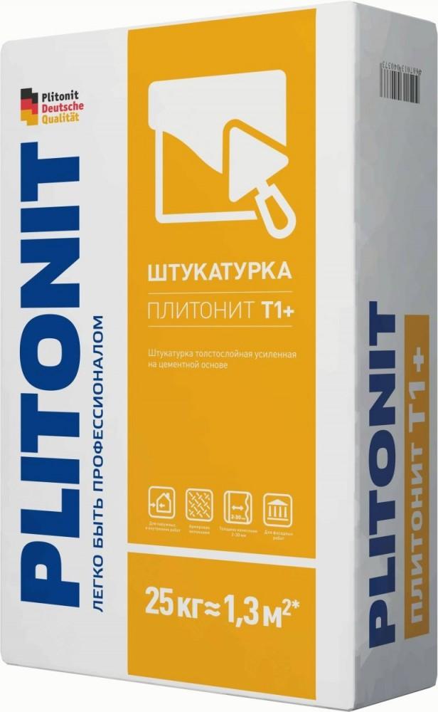 Купить Штукатурка цементная для машинного нанесения Plitonit Т1+ (серая), 25 кг — Фото №1
